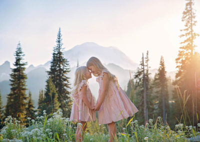 sisters, mountain, photography, golden hour, PNW, doll cakes dress, (2 of 2)